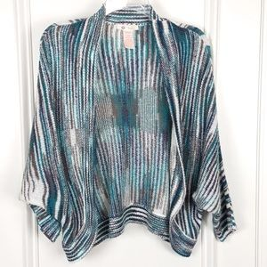 Tulle | Striped Dolman Sleeve Cardigan Teal Small